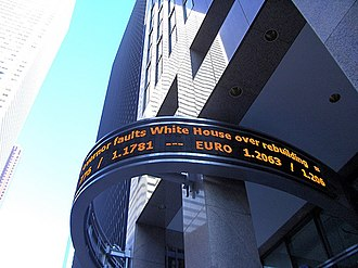 News ticker - Stock ticker on the Reuters building at Canary Wharf, London.