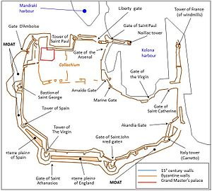 Fortifications of Rhodes - Map of the fortifications of Rhodes