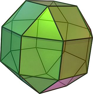 Rhombicuboctahedron Archimedean solid with eight triangular and eighteen square faces