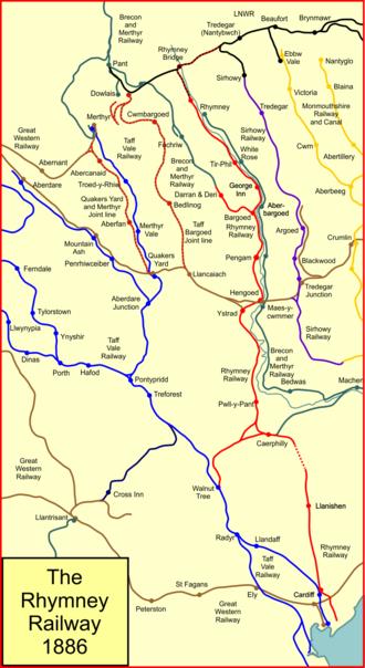 Rhymney Railway - System map of the Rhymney Railway (shown in red) in 1886