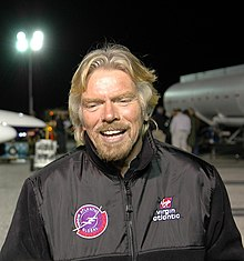 Richard Branson at Virgin Atlantic GlobalFlyer planned takeoff