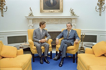 The Prince of Wales met with US President Richard Nixon in the Oval Office on an official visit to the United States in July 1970. Richard Nixon with Prince Charles.jpg