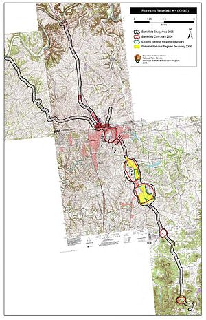 Battle of Richmond - Map of Richmond Battlefield core and study areas by the American Battlefield Protection Program.