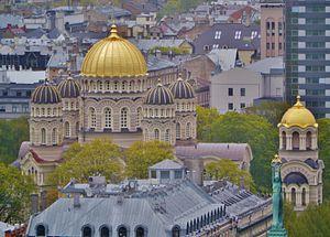 Nativity Cathedral, Riga - Image: Riga Petrikirche Blick vom Turm zur Christi Geburt Kathedrale 2