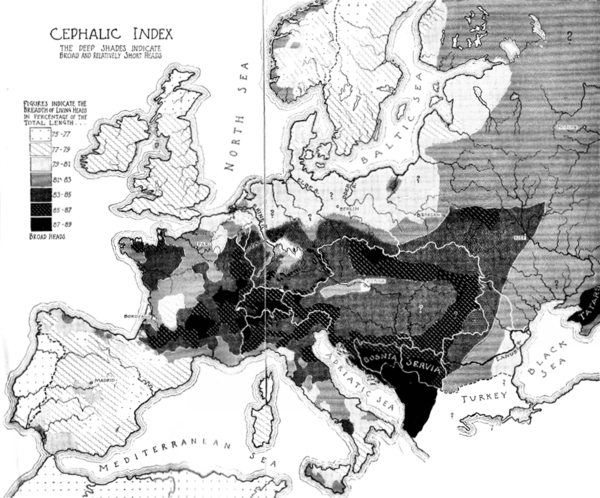 "William Z. Ripley's map of the ""cephalic index"" in Europe, from The Races of Europe (1899). Ripley map of cephalic index in Europe.png"