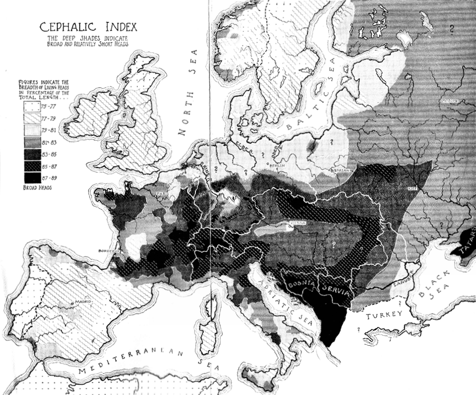 Ripley map of cephalic index in Europe