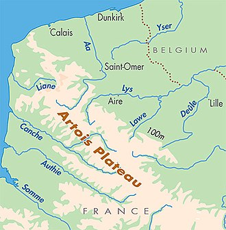 Aa (river, France) - Location of the River Aa in relation to the other rivers of Flanders, before the connecting canals were built