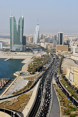 Road and towers in Manama