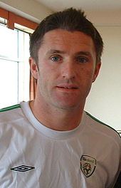 Robbie Keane in his white Ireland shirt