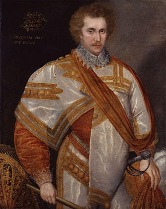"Robert Sidney, 1st Earl of Leicester - Robert Sidney c. 1588. At the top left is inscribed his Latin motto: Inveniam Viam Aut Faciam (""I shall find the way or make it"")"