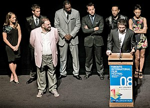 Idris Elba - Elba (back row, centre) with the cast of RocknRolla at the 2008 Toronto International Film Festival