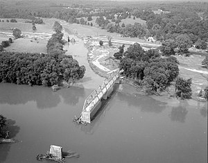 Howardsville, Albemarle County, Virginia - The confluence of the Rockfish and James Rivers at Howardsville, showing flooding damage in the aftermath of Hurricane Camille