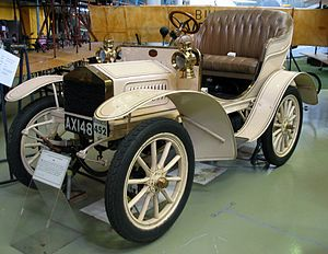1905 model Rolls Royce, as featured in the Museum of Science and Industry in Manchester. This car, registration AX148, was built in the original Manchester factory, and is the oldest such vehicle on public display