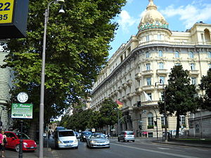 Via Veneto - Traffic on Via Veneto in front of The Westin Excelsior, Rome.