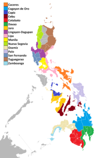Map of the ecclesiastical provinces of the Catholic Church in the Philippines