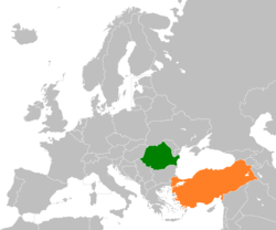 Map indicating locations of Romania and Turkey