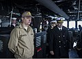 Romanian Navy Warrant Officer Daniel Pap, left foreground, observes operations on the bridge aboard the guided missile destroyer USS Truxtun (DDG 103) in Constanța, Romania, March 8, 2014 140308-N-EI510-051.jpg