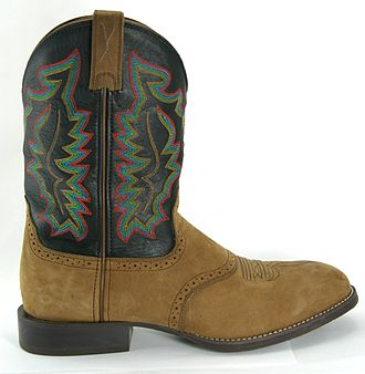 Cowboy boot - A roper-style cowboy boot has a low, squared-off heel