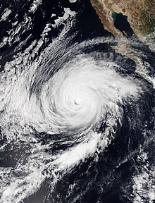 Satellite image of Category 2 Hurricane Rosa approaching Baja California Peninsula on September 29