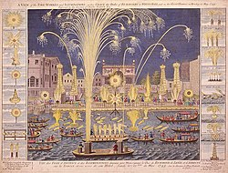 An etching of the 'Royal Fireworks' display on the Thames in 1749.