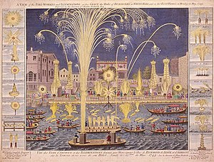 An etching of the Royal Fireworks display on t...