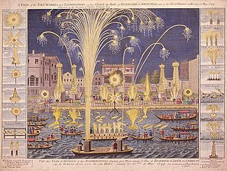 Fireworks - An etching of the Royal Fireworks display on the Thames, London, England in 1749.