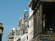 The Royal Liver Building towers over Water Street and the Town Hall