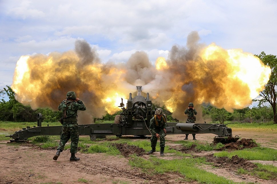 Royal Thai Army firing M198 howitzer