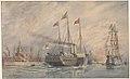 Royal Yacht Victoria & Albert leaving Portsmouth harbour. HMS. Victory HMS. Serapis.jpg