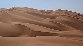 Rub' al Khali - Sand dunes to the east of Liwa Oasis in the Emirate of Abu Dhabi, near the UAE's border with Saudi Arabia