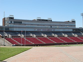 Gerald J. Ford Stadium - Image: SMU's Ford Stadium Press from Opposite Side of Stadium