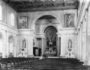 Sacred Heart Cathedral, Wellington - Sacred Heart Cathedral: interior, about 1901, showing the pre-Vatican II ordering.