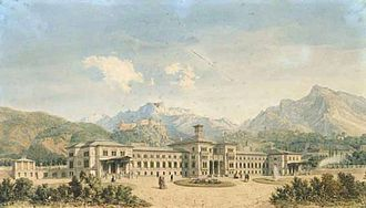 Rosenheim–Salzburg railway - Salzburg station about 1870