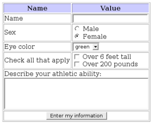 Form (HTML) - Sample form. The form is enclosed in an HTML table for visual layout.