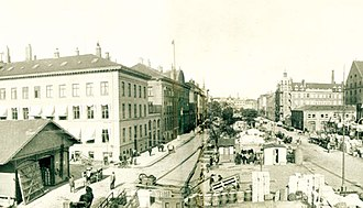 Sankt Annæ Plads - Sankt Annæ Plads with harbor activity in 1916