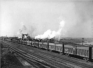 Stock car (rail) - Stock cars make up part of an eastbound Santa Fe freight train in March, 1943