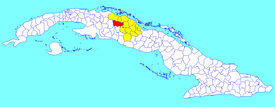 Santo Domingo municipality (red) within  Villa Clara Province (yellow) and Cuba