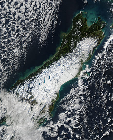 A true-colour image of the South Island, after a powerful winter storm swept across New Zealand on 12 June 2006. Satellite image of South Island New Zealand.jpg