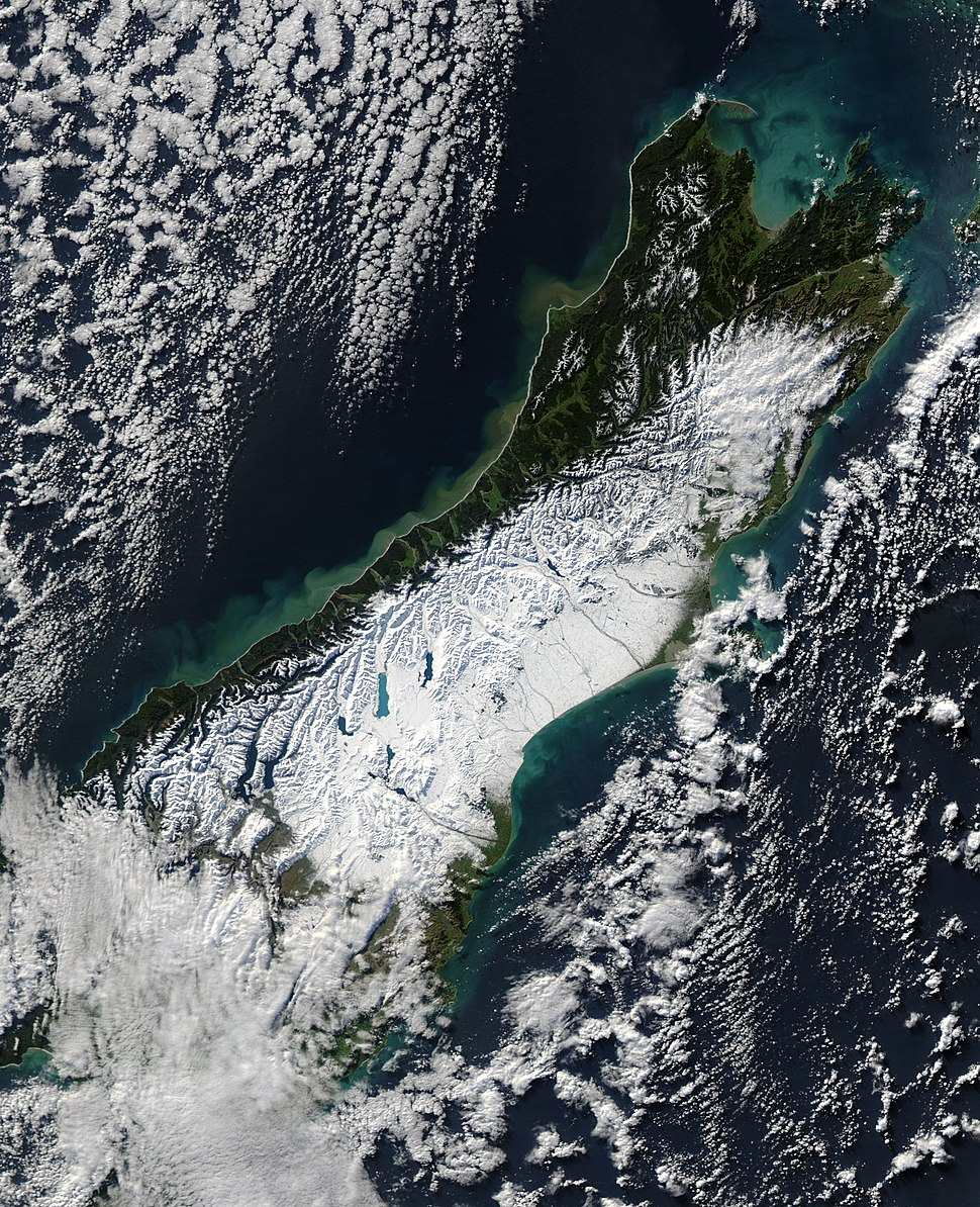 Satellite image of South Island New Zealand