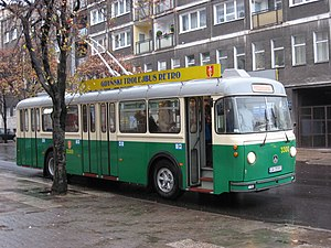 Trolleybuses in St. Gallen - The former St. Gallen trolleybus no. 128 as a heritage vehicle in Gdynia, Poland, still wearing its St. Gallen fleet livery.
