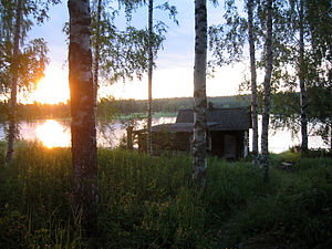 Finnish Savusauna by the lake