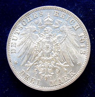 Monument to the Battle of the Nations - German 3 Mark 1913 Commemorative coin Centennial of the Battle of Leipzig, reverse