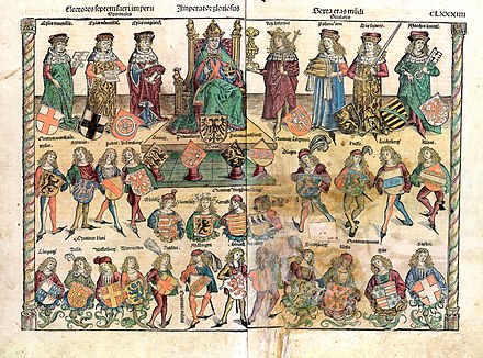 An illustration from Schedelsche Weltchronik depicting the structure of the Reich: The Holy Roman Emperor is sitting; on his right are three ecclesiastics; on his left are four secular electors. Schedelsche Weltchronik Struktur des Reiches.jpg