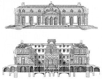Schloss Benrath - Pen-and-ink elevation and section of Schloss Benrath by Nicolas de Pigage