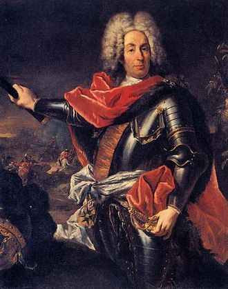 Johann Matthias von der Schulenburg - Count Johann Matthias von der Schulenburg: portrait with the marshal's baton by Gian Antonio Guardi, 1741