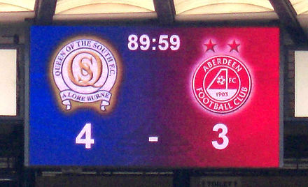 2008 Scottish Cup semi final result on the scoreboard at Hampden Park Scoreboard cropped.JPG
