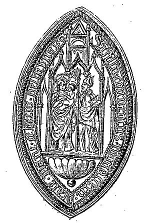 Herluin of Bec - Seal of Bec Abbey showing Hurluin with Mary and Jesus