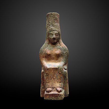 Terracotta statuette of a seated woman with tiara, from Tyre, 6th century BCE, at the Louvre Seated woman with tiara-AO 1579-IMG 4681-gradient.jpg