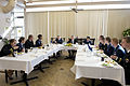 Secretary of Defense Chuck Hagel, center, holds a round-table luncheon with junior officers at Offutt Air Force Base, Neb., Nov. 15, 2013 131115-D-BW835-1108.jpg