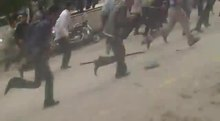 File:Security forces shoot at protestors, Jisr ash-Shugur 2011.ogv